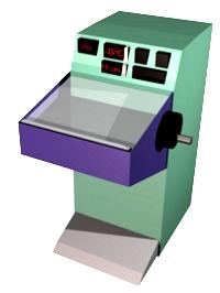 Criostato. El compartimento de color azul es la cámara refrigerada a la temperatura seleccionada. En esta cámara se encuentra la muestra, la cuchilla y es donde se recogen las secciones.