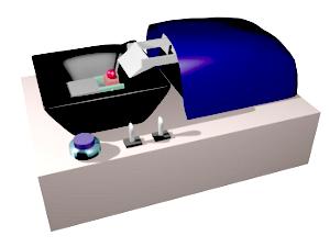 Vibratomo. La cubeta, de color negro, ha de estar llena de tampón de trabajo durante el proceso de corte de manera que la cuchilla y la muestra, de color rojo, y las secciones que se obtienen están sumergidos.